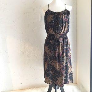 Parker black brown racer back silk printed dress
